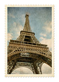 Paris Eiffel tower vintage postage stamp isolated with clipping
