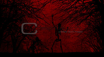 Grunge Halloween background with skeletons