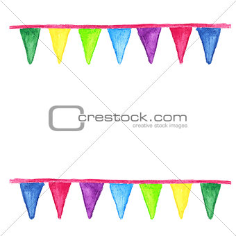 Watercolor party bunting, isolated on white background