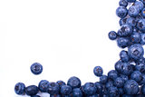 frame of blueberries on white background