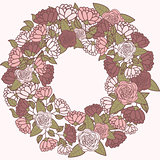Romantic flower wreath, wreath of roses