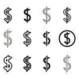 Dollars sign icon set, dollar logo template