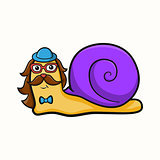 Illustration of hipster snail
