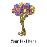 Cute card with doodle colorful tree