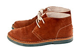 a pair of brown suede shoes