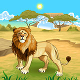 African landscape with lion king.