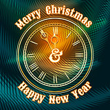 Christmas and happy new year clock