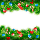 Christmas Background With Fir Branches. Vector Illustration.
