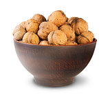 Clay Bowl Full Of Walnuts