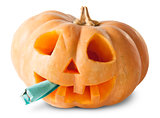 Pumpkin Halloween Jack O_Lantern With Fake Cigarette