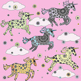 Background with cartoon unicorns for little girls