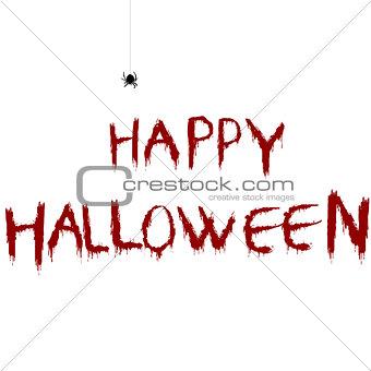 Bloody Happy Halloween illustration with cartoon spider
