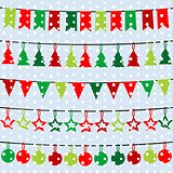 Christmas background with garlands and buntings over a snowflake