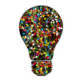 Creative light bulb with colorful network on white background