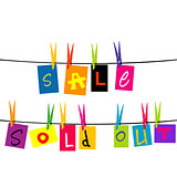 Sale and sold out hanging on a rope