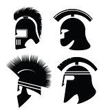 silhouettes of helmet