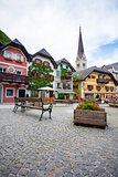 Colorful houses village square in Hallstatt