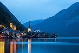 Night view of Hallstatt village