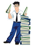 Businessman with file folders and documents