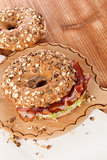 Whole grain bagel with bacon