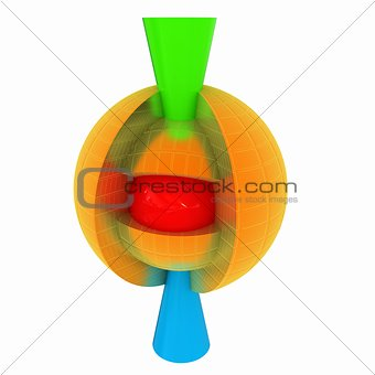 3d atom. Abstract model