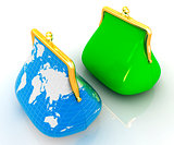 Purse Earth and purses. On-line concept