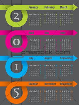 2015 colorful ribbon arrow calendar design