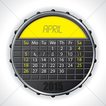 2015 april calendar with lcd display