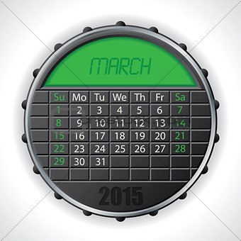 2015 march calendar with lcd display