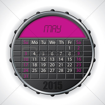 2015 may calendar with lcd display