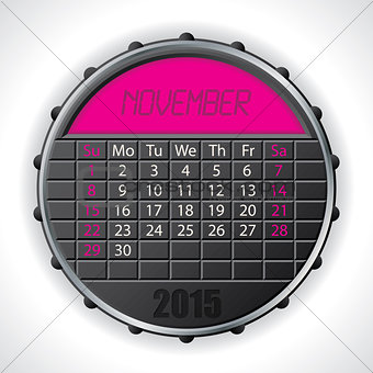 2015 november calendar with lcd display