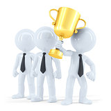 Successful business team with trophy. Business concept. Isolated.