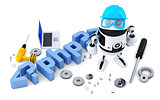 Robot with PHP sign. Technology concept. Isolated on white background. Containsclipping path