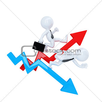 Business man run over graph arrow. Rise and fall concept. Isolated. Contains clipping path