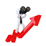 Businessman with binoculars on top of the graph arrow. Business concept. Isolated. Contains clipping path