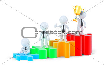 Group of business people standing on graph. Business concept. Isolated. Contains clipping path