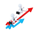 Businesspeople running over graph arrows. Business concept. Isolated. Contains clipping path