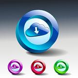 cloud download symbol illustration icon vector