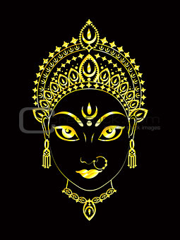 abstract artistic golden detailed durga background