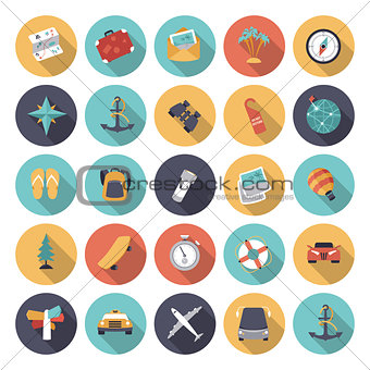 Flat design icons for travel and transportation