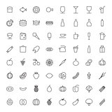 Thin Line Icons For Food and Drinks