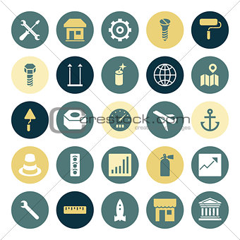 Flat design icons for industrial