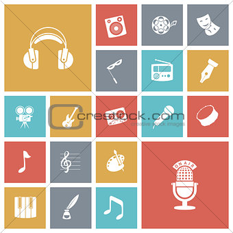 Flat design icons for music and sound