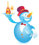 Snowman-waiter with champagne