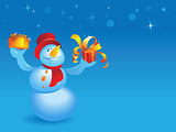 Snowman with cake and gift on blue