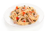 Delicious seafood pasta.