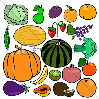 Cartoonish fruits and vegetables vol. 2