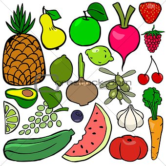 Cartoonish fruits and vegetables vol. 1