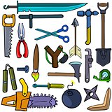 Cartoonish tools and weapons