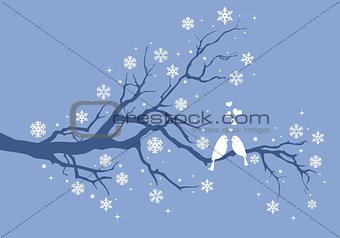 Christmas birds on winter tree, vector